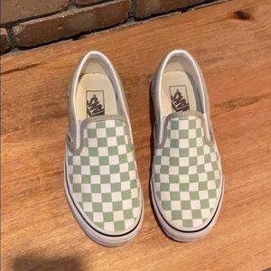 Sage Check Classic Vans Slip Ons